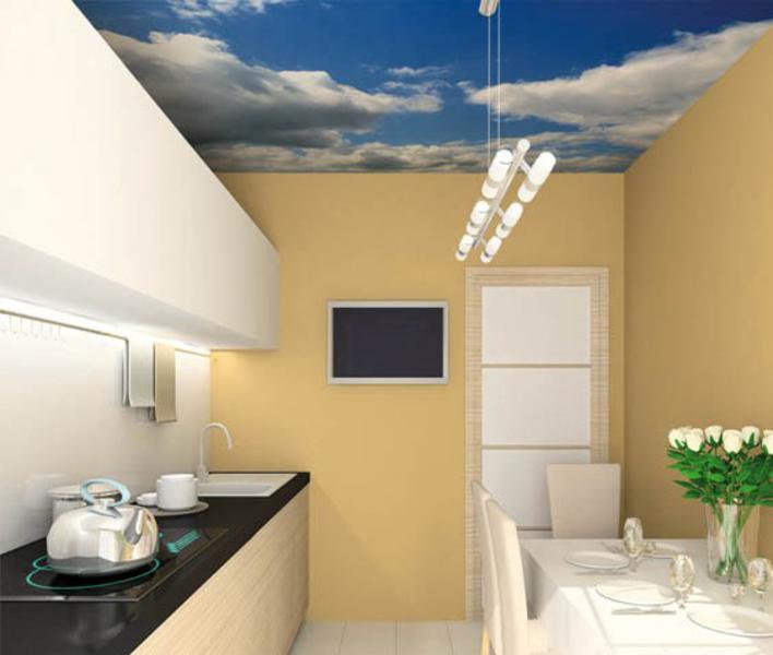 Modern design interior of kitchen. 3D render